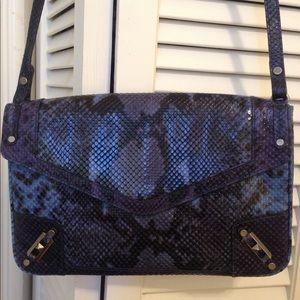 Rebecca minkoff blue snakeskin purse