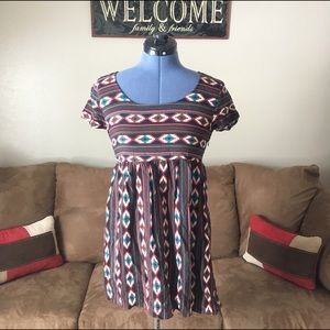 Forever 21 Babydoll Aztec Tunic Size Small