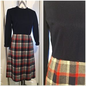 Vintage navy and Plaid dress Size Small