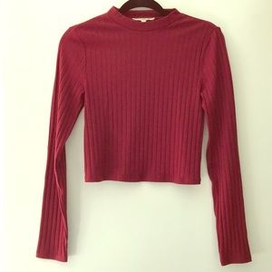 Express One Eleven cropped, ribbed mock neck tee