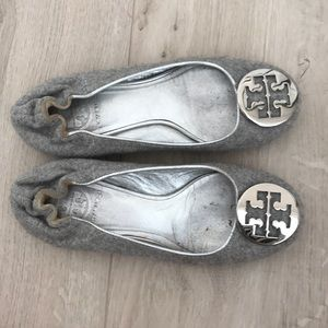 Tory Burch flats in grey sweater material