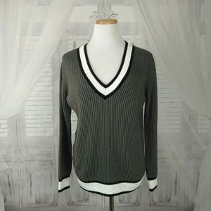 Asos Deep V Neck Colorblock Pullover Sweater