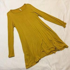 Mustard swing dress with pockets