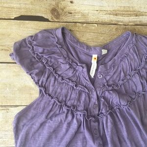 Anthro Little Yellow Button Purple Cotton Top