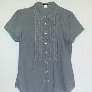 J Crew Blouse Top Shirt 6 Blue White Pinstripe