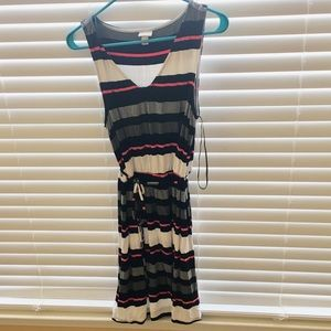 Summer dress with multicolored stripes