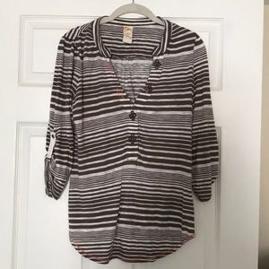 Brown and white striped shirt