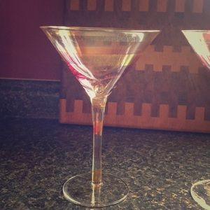 Pink and gold stripped martini glasses