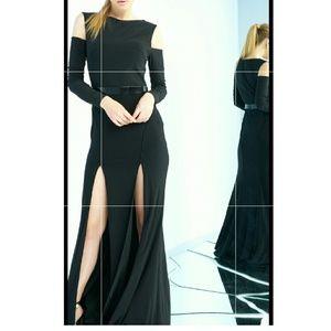 Black McDougal Gown with 2 splits cold shoulder
