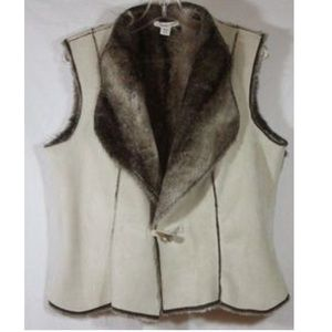 Coldwater Creek Vest Faux Suede & Fur
