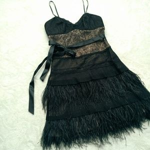 BCBGMaxAzria ostrich feather party dress
