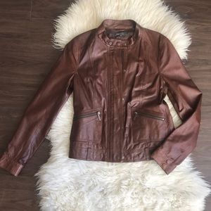Vince Brown Leather Jacket