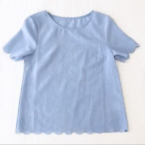 Blue scalloped crop top
