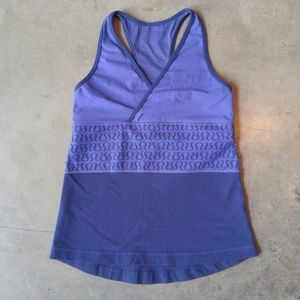 Lululemon Purple/Blue Cross Front Mesh Back Tank