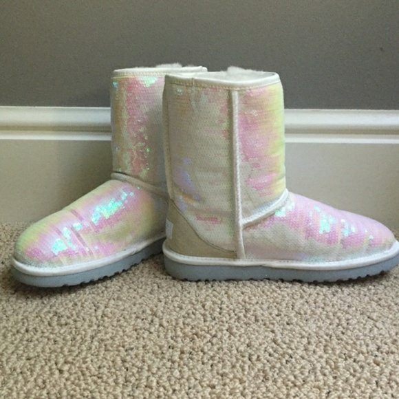 UGG Shoes | White Sequin Uggs | Poshmark