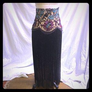 Hi Waisted beaded fringe embroidered skirt sz sm