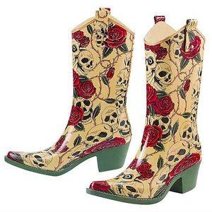 Jeffrey Campbell Skull & Rose Rain Boots