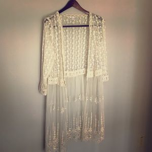 Lace duster-cardigan