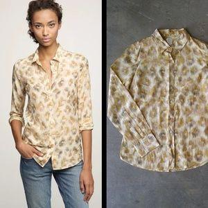 J. Crew Bronzed Leopard Perfect Shirt
