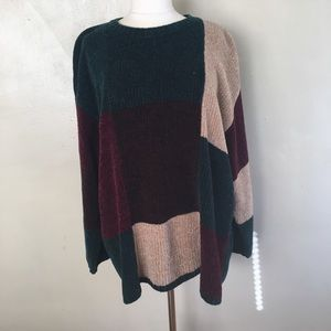 Vintage Oversized Colorblock Sweater