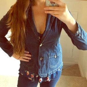 Classic 2 Button Denim Jacket w/ Front Pockets