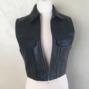 Vintage Genuine Leather Motorcycle Vest