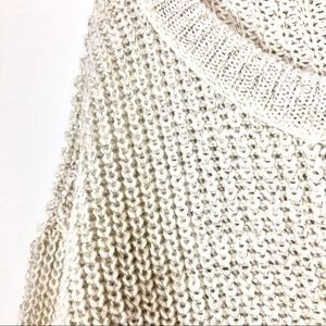 DKNY Jeans gold threaded oversized cream sweater