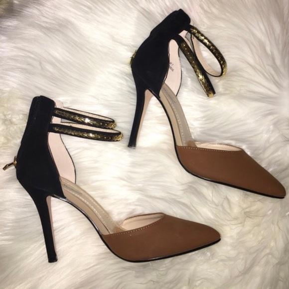 les chaussures de daim | michelle anne michelle | | poshmark talon noir brun cheville 75458b
