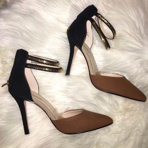 Anne Michelle Suede Black Brown Ankle Strap Heel 7