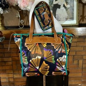 FOSSIL COATED CANVAS TOTE AND WALLET SET
