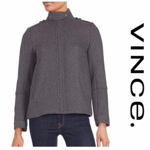 Vince Grey Wool Pleat Back Jacket