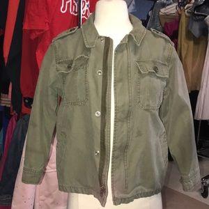 green zip-up jacket