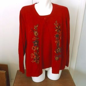 Sag Harbor Red Mock 2 pc Sweater Knit Top 2X Plus