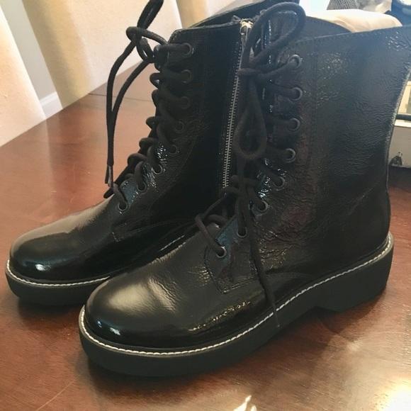 d5b7c2c9815 Steve Madden black patent leather combat boots