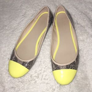 Banana Republic Snakeskin and Yellow Flats