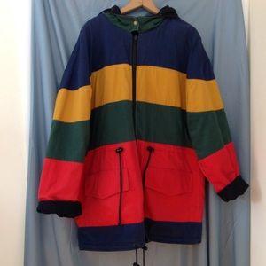 Amazing 1990s reversible color block winter coat