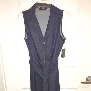 Ellen Tracy denim sleeveless dress w/tie belt