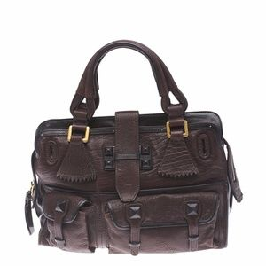 Chloe Elvire Brown Leather Satchel  (117304)