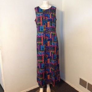 Vintage Colorful Print Hawaiian Dress M