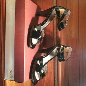 Sofft Black Patent Leather Sandal Heel