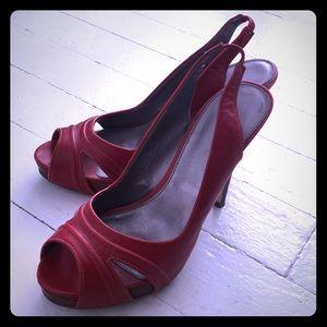 Calvin Klein Red Leather Heels