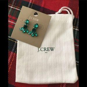 J Crew NWT Drop Dangle Earrings-Holiday Green