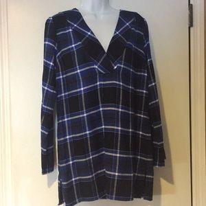 Michael KORS Royal/Black Plaid Flannel Tunic