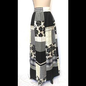 Vintage Patchwork Pattern Full Length Maxi Skirt