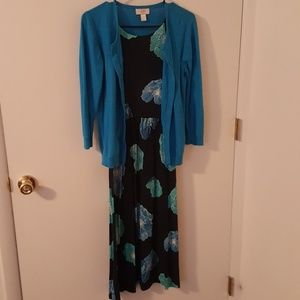 LOFT Blue Floral Dress & Cardigan