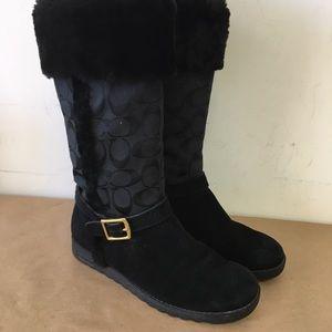 COACH Deeann Size 7 Furry Signature Women's Boots!