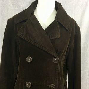 Bass Dark Brown Large Corduroy Pea Coat