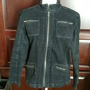 Chico's Platinum denim jacket size 2