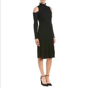 REBECCA TAYLOR BLACK MIDI SWEATER DRESS