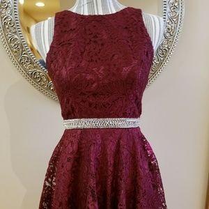 Maniju Burgundy Silver Bead Eyelet Prom Dress